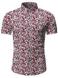 Tiny Flower Button Up Short Sleeve Shirt -