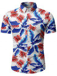 Tropical Leaf Print Button Up Beach Shirt -