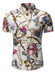 Chain Print Button Up Short Sleeve Hawaii Shirt -