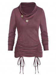 Heathered Mock Button Cinched T-shirt -