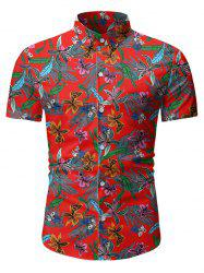 Tropical Floral Print Button Up Short Sleeve Shirt -