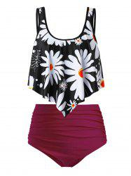 Plus Size Flower Print Flounce Ruched High Waisted Tankini Swimsuit -
