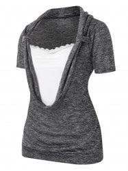 Plus Size Cowl Front Marled Lace Embellished T Shirt -