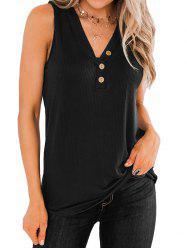 Ribbed Mock Button V Neck Tank Top -
