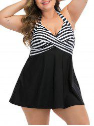 Plus Size Halter Striped Twist Skirted One-piece Swimsuit -