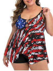 Plus Size Destroyed American Flag Ring Tankini Swimsuit -