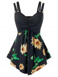 Plus Size Sunflower Print Dual Strap Backless Tunic Tank Top -
