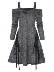 Cold Shoulder Twist Front Heathered Lace-up Flare Dress -