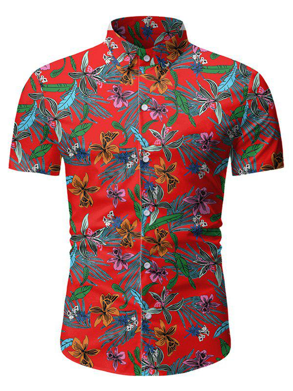 Fancy Tropical Floral Print Button Up Short Sleeve Shirt