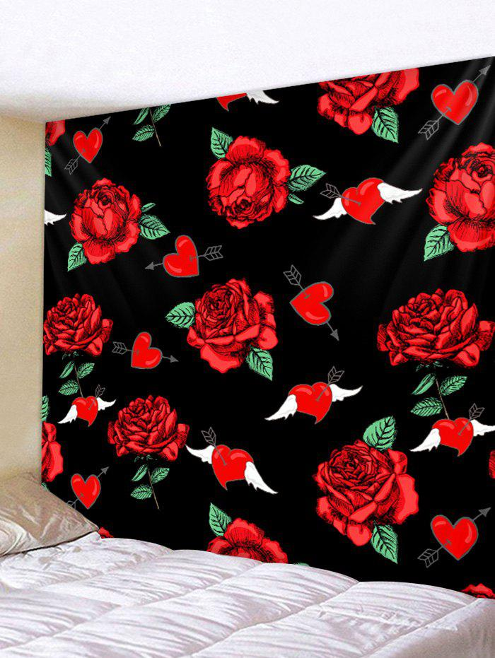 Outfit Wing Rose Flower Pattern Wall Hanging Tapestry
