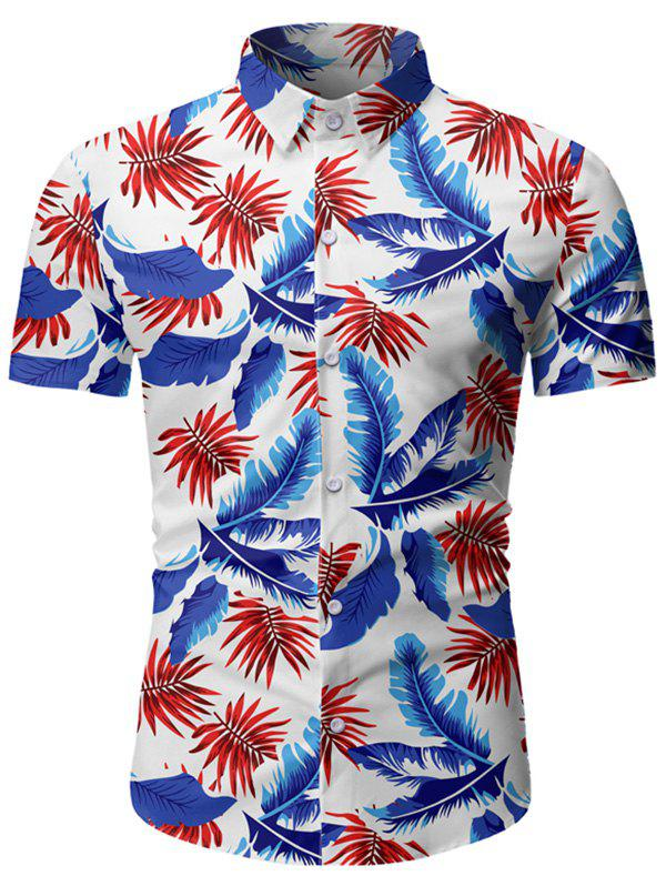 Affordable Tropical Leaf Print Button Up Beach Shirt