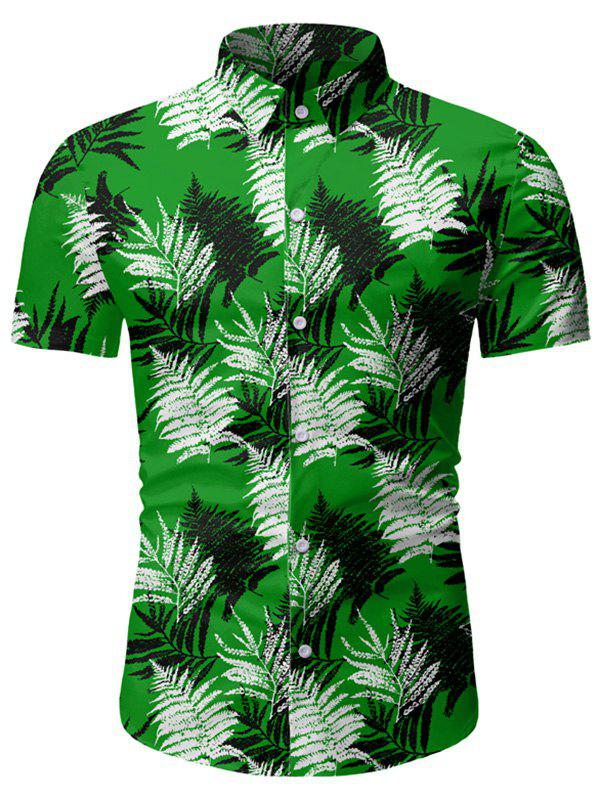 Fancy Leaf Print Button Up Short Sleeve Hawaii Shirt