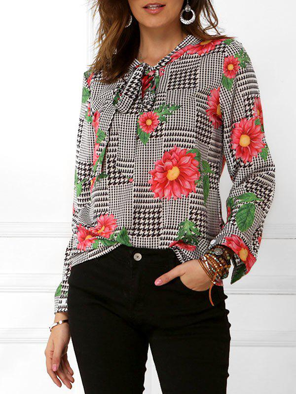 Outfits Houndstooth Floral Print Long Sleeves Blouse