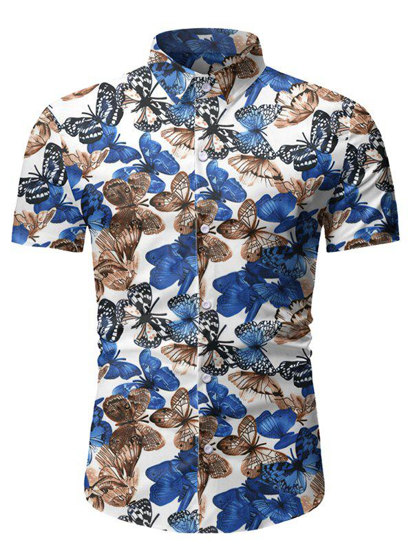 New Butterfly Print Button Up Short Sleeve Shirt