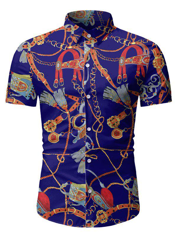 Unique Chain Print Button Up Short Sleeve Hawaii Shirt