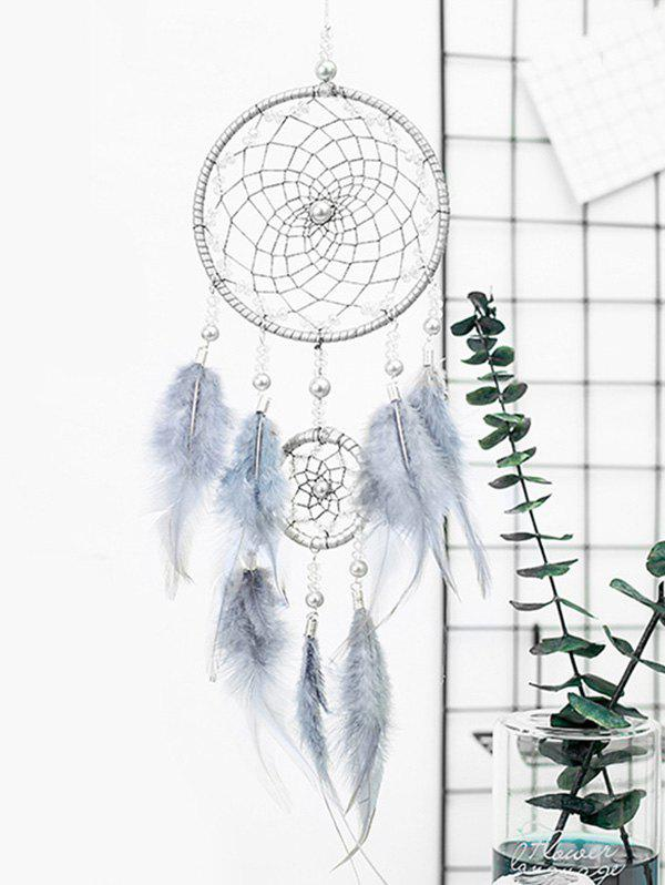 Faux Pearl Beaded Ombre Feather Dream Catcher, Gray goose