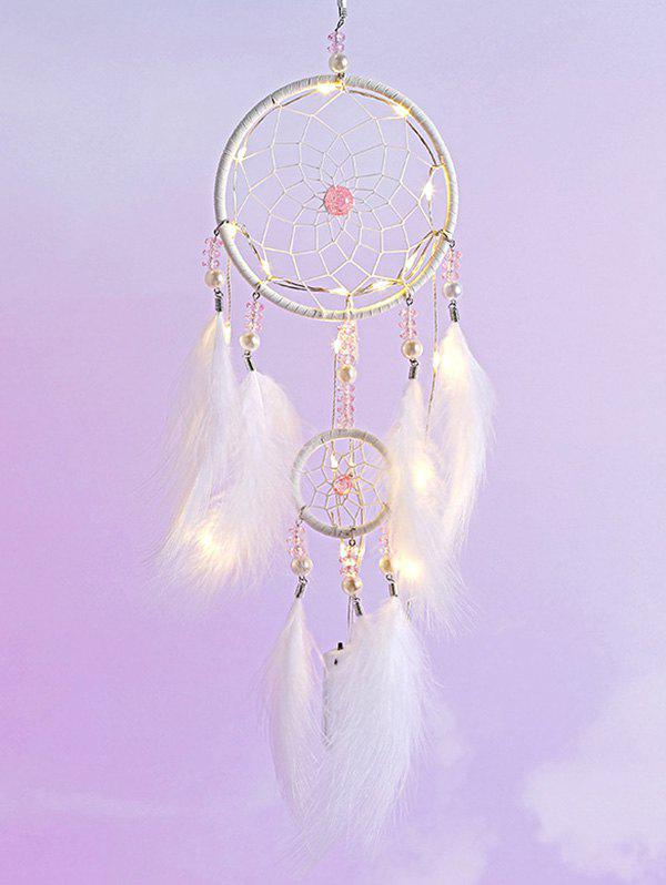 Online Faux Pearl Beaded LED Light Feather Dream Catcher