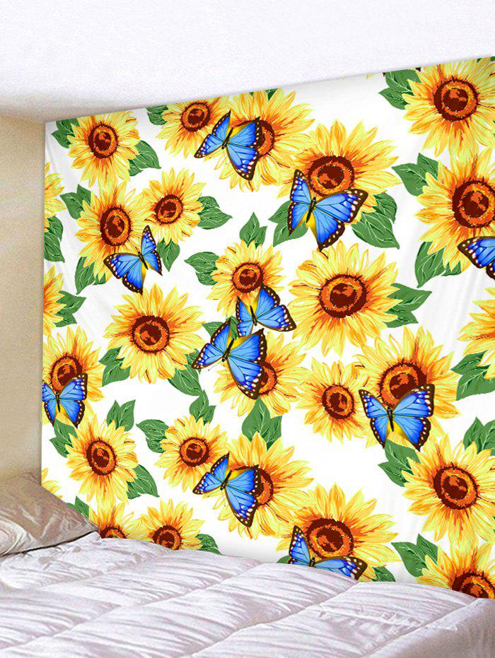 Chic Butterfly and Sunflowers Print Tapestry Wall Hanging Art Decoration