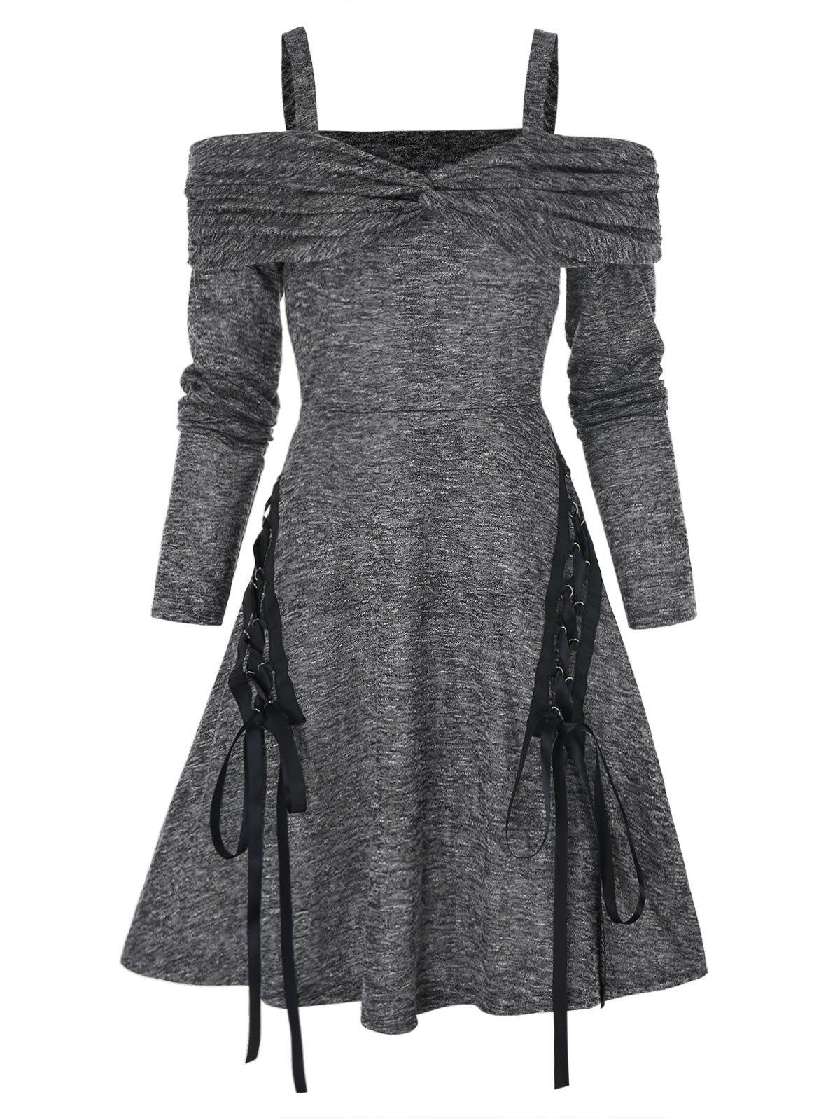 Trendy Cold Shoulder Twist Front Heathered Lace-up Flare Dress