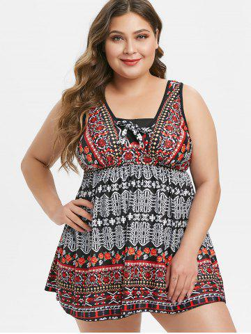 Ethnic Floral Printed Plus Size Tankini Swimsuit