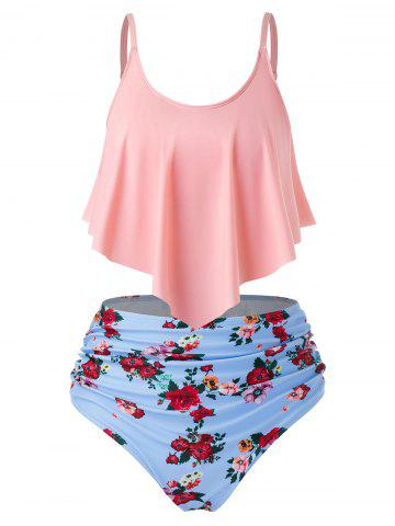 Plus Size Overlay Ruched Floral Tankini Swimsuit