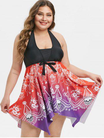 Plus Size Handkerchief Ombre Tribal Print Skirted Tankini Swimsuit