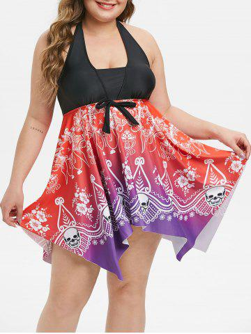 Plus Size Handkerchief Ombre Tribal Print Skirted Tankini Swimsuit - RED - L