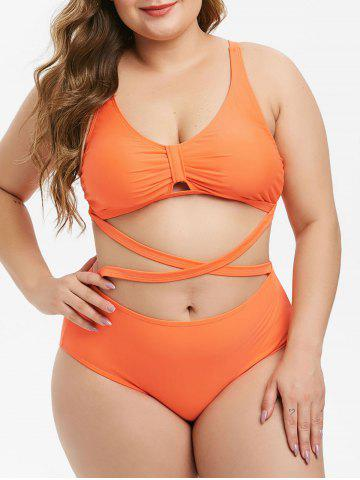 Plus Size Plunge Crisscross High Rise Bikini Swimsuit - ORANGE - L