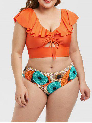 Plus Size Ruffle Cinched Keyhole Printed Two Piece Swimsuit - ORANGE - 3X