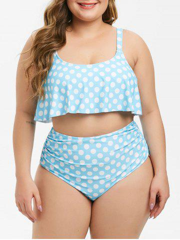 Flounces Polka Dot High Waisted Ruched Plus Size Tankini Swimsuit - LIGHT SKY BLUE - 5X