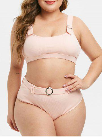 Plus Size Ring Belted Textured Ribbed Bikini Swimsuit - DEEP PEACH - 3X