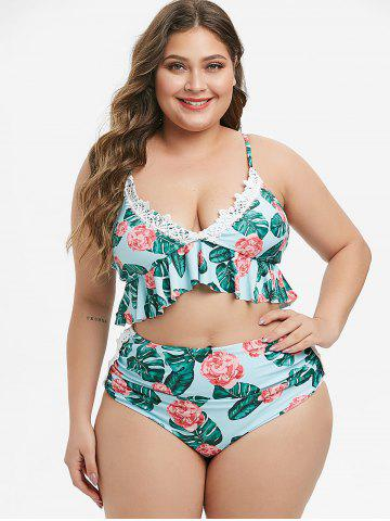 Plus Size Laced Floral Palm Leaf Ruched Bikini Swimsuit