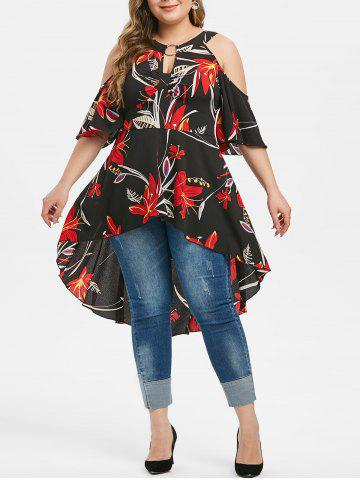 Plus Size Cold Shoulder High Low Floral Keyhole Blouse