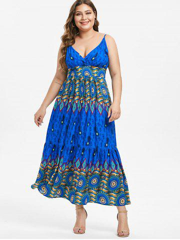 Plus Size Feather Printed Slip Dress