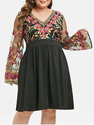 Plus Size Fit And Flare Embroidery Gauze Sleeve Dress - BLACK - 1X
