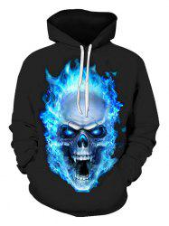 Skull Flame Print Pouch Pocket Hoodie -