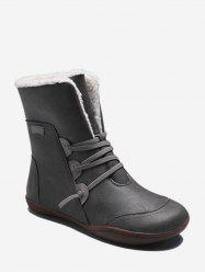 Lace Up Leather Flat Fleece Mid Calf Boots -