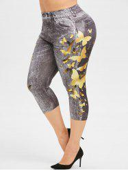 Plus Size Butterfly Print Skinny Capri Jeggings -