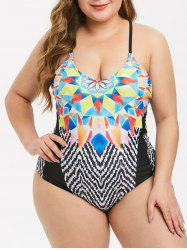 Plus Size Geometry Zigzag Cami One-piece Swimsuit -