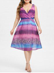 Plus Size Leopard Ombre Surplice Dress -