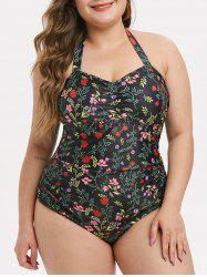 Plus Size Halter Plant Print Ruched One-piece Swimsuit -