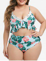 Plus Size Laced Floral Palm Leaf Ruched Bikini Swimsuit -