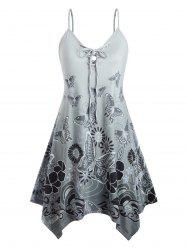 Plus Size Butterfly Print Lace Up Swing Dress -