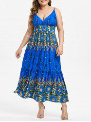 Plus Size Feather Printed Slip Dress -