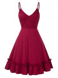 Plus Size Lace Insert Flippy Hem Cami Dress -