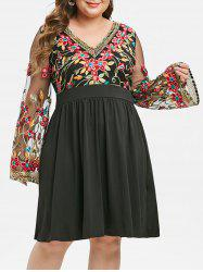 Plus Size Fit And Flare Embroidery Gauze Sleeve Dress -