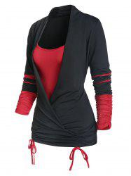 Long Sleeve Cinched Contrast Faux Twinset T-shirt -