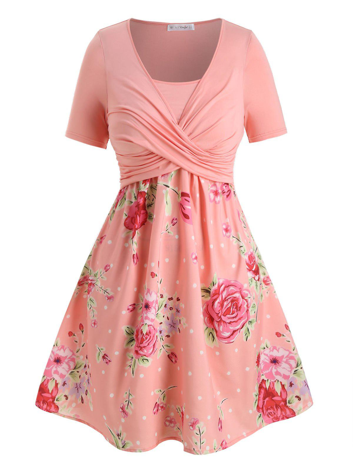 Plus Size Floral Print Crossover A Line Dress фото