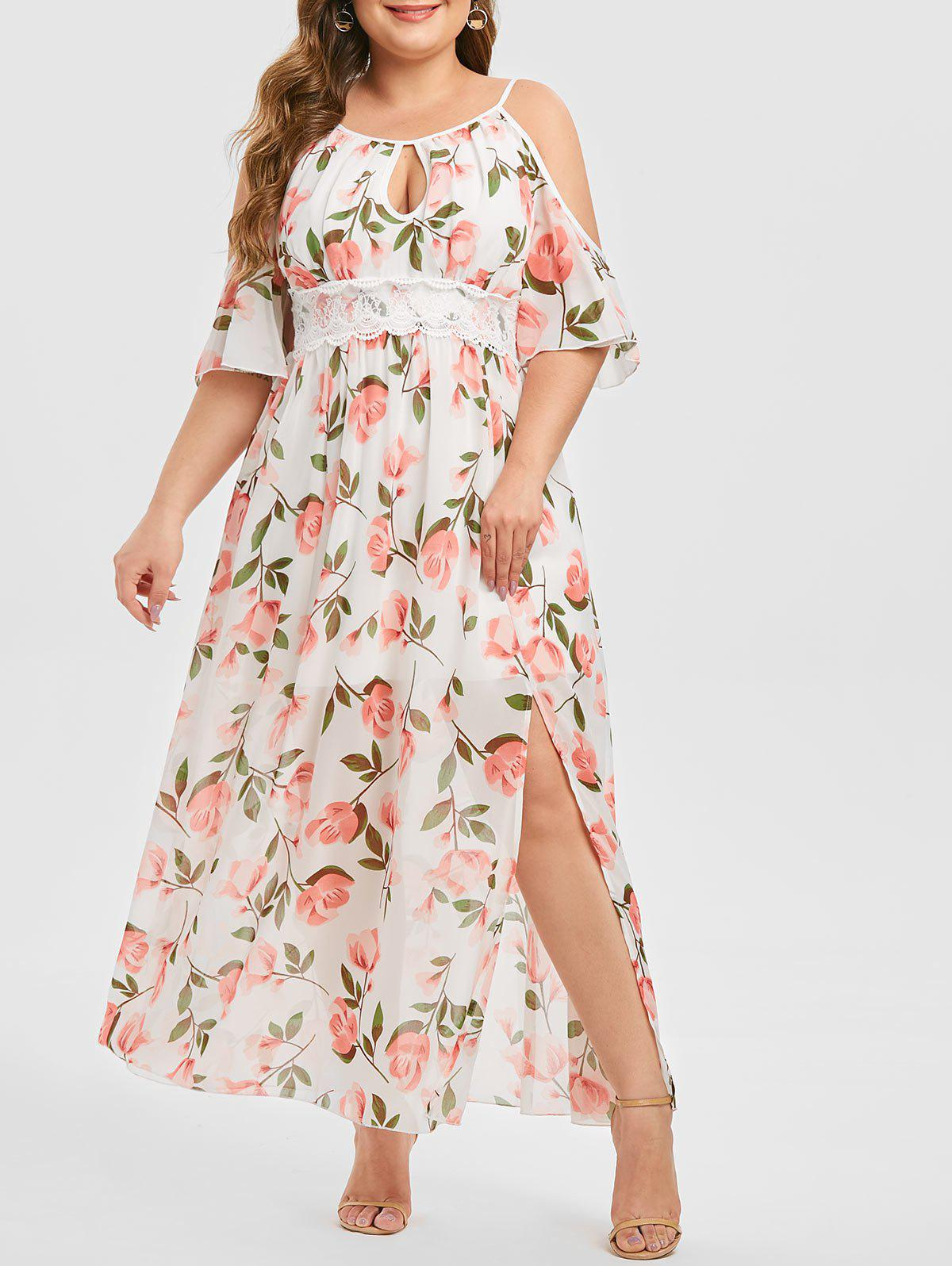 Latest Plus Size Cold Shoulder Keyhole Floral Maxi Dress