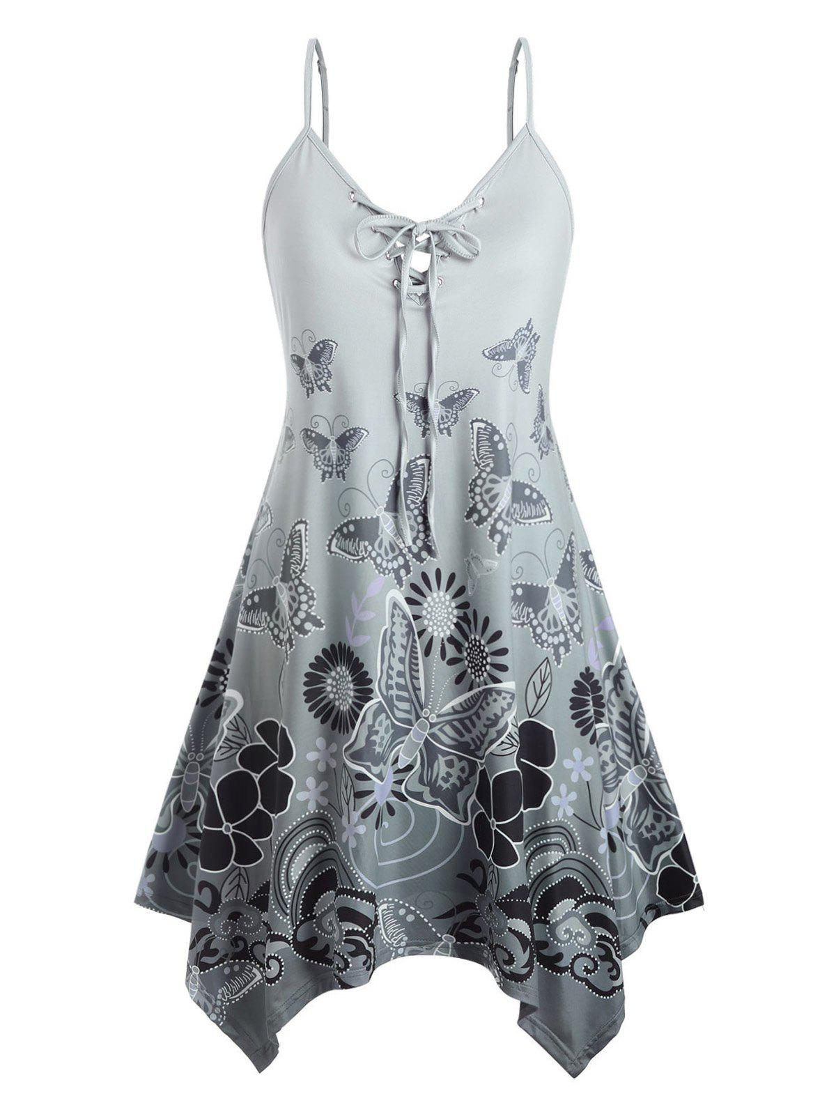 Sale Plus Size Butterfly Print Lace Up Swing Dress